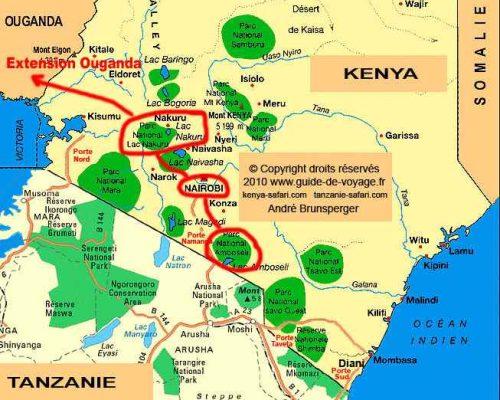 Carte du circuit - safari Kenya extension gorilles Ouganda