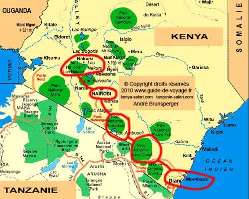 Carte circuit Karibu Kenya famille handicapée et personne à mobilité réduite